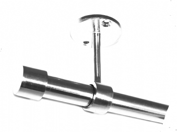 19mm Stainless Steel Ceiling Curtain Pole System End Cap Finials No Rings 1.2m 1.5m 2.4m 3m